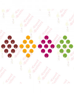Comet Busters Red, Yellow, Pink and Green Round Bindis With Silver Stone (7mm)