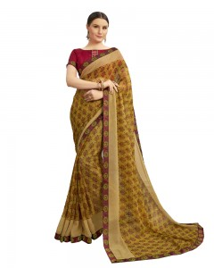 Comet Busters Georgette Tortilla Brown Saree