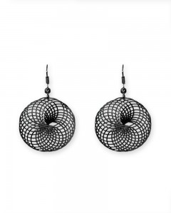 Comet Busters Stylish Round Black Earrings