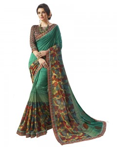 Comet Busters Art Silk Printed Saree With Border