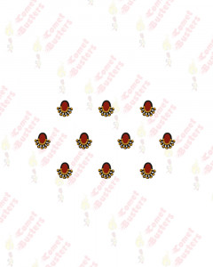 Comet Busters Maroon Oval Bindis With Gold Beads