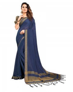 Comet Busters Self Design Navy Blue Georgette Saree