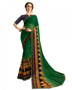 Comet Busters Dark Green Printed Saree With Blouse
