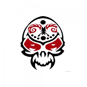 Comet Busters Red and Black Skull Temporary Water Tattoo Sticker (BJ101)