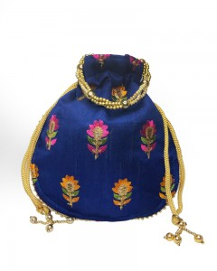 Comet Busters Ethnic Dark Blue Potli Pouch Bag with Thread Work For Women