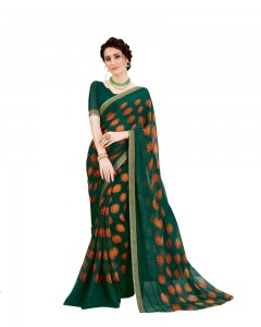 Comet Busters Dark Greeen Georgette Saree with Printed Border