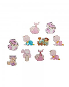 Comet Busters Cute Wooden Decorative Baby Buttons for Sewing Scrapbook DIY