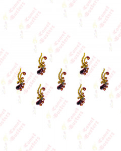 Comet Busters Maroon and Golden Long Bindi