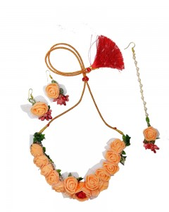 Comet Busters Orange Floral Flower Floret Jewellery Set with Necklace, Maang Tika, Earrings for Women & Girls