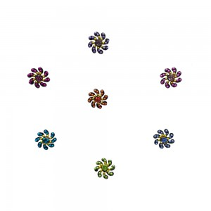 Comet Busters Fancy Round Bindis With Colorful Stone and Beads (BIN1116)