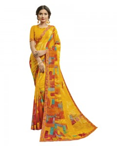 Comet Busters Women's Printed Yellow Georgette Saree With Border