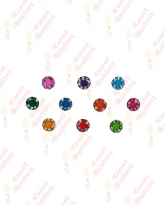 Comet Busters Round Multicolored Bindis With Silver and Colored Stone Border (7 mm)