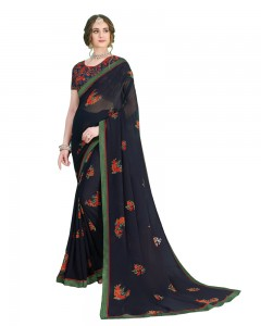 Comet Busters Printed Georgette Dark Blue Saree with Border