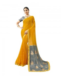 Comet Busters Chiffon Printed Saree With Border