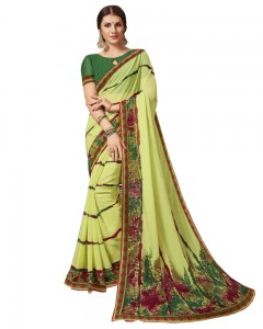 Comet Busters Lime Green Printed Georgette Sari With Border