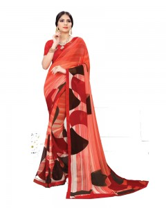 Comet Busters Red Printed Georgette Sari With Border