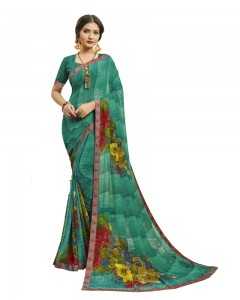 Comet Busters Women's Printed Georgette Saree With Border