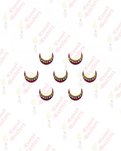 Comet Busters Traditional Maroon Moon Bindi With Stone and Golden Border