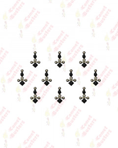 Comet Busters Fancy Black Bindi With Silver Beads