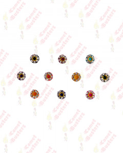 Comet Busters Beautiful Small Multicolor Velvet Bindi With Stones