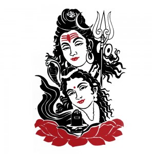 Comet Busters Red and Black Shiv Parvati Water Temporary Tattoo (BJ128)