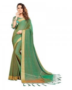 Comet Busters Self Design Fern Color Georgette Saree