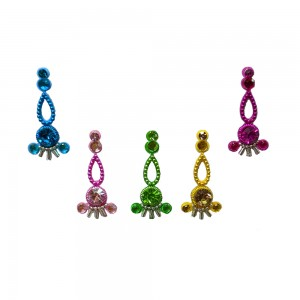 Comet Busters Multicolor Long Bindis With Stone Work (BIN1100)