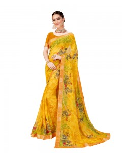 Comet Busters Yellow Georgette Saree with Printed Border