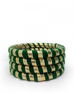 Comet Busters Green Bangles With Gota