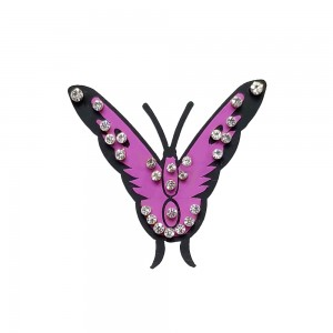 Comet Busters Temporary Pink Butterfly Tattoo With Silver Stones (BJ179)