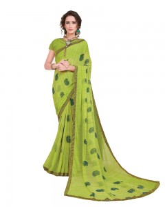 Comet Busters Printed Green Georgette Sari With Border