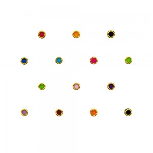 Comet Busters Multicolor Round Bindi With Gold Beads Border (BIN1165)