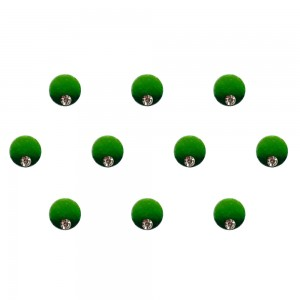 Comet Busters Green Shaded Ombre Bindis With Silver Stone (6mm) (BIN1271)