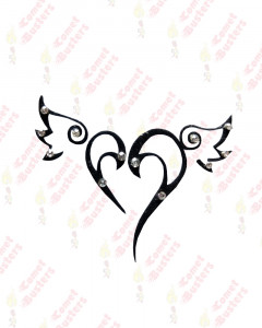 Comet Busters Heart With Wings Temporary Tattoo