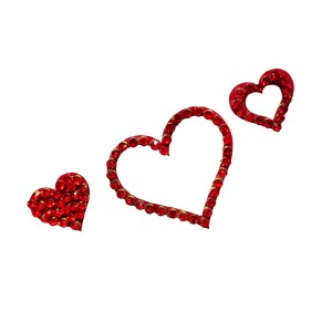 Comet Busters Red Stone Work Temporary Heart Body Tattoo Body Jewels (BJ186)