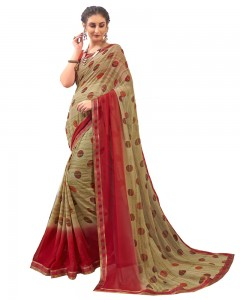 Comet Busters Georgette Blend Printed Beige Saree with Border