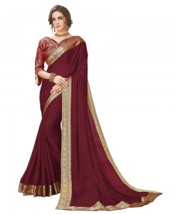 Comet Busters Maroon Georgette Saree with Resham Border