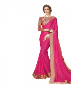 Comet Busters Hot Pink Georgette Saree with Resham Border