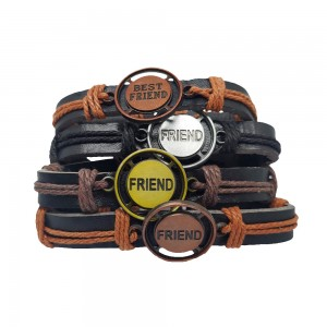 Comet Busters Leather Casual Bracelets Friendship Bands For Boys and Men (Set of 4)