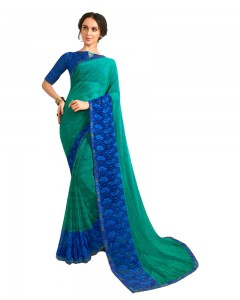 Comet Busters Green And Blue Printed Saree With Blouse