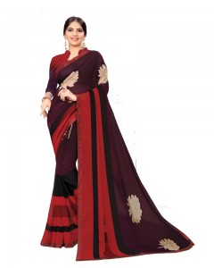 Comet Busters Black Printed Georgette Sari With Border