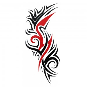 Comet Busters Black and Red Arm Band/Back Temporary Water Tattoo Sticker (BJ177)