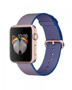 Apple Watch Sport 42 mm Rose Gold Aluminum Case with Royal Blue Woven Nylon | Renewed