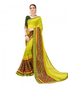 Comet Busters Light Green Georgette Saree with Printed Border