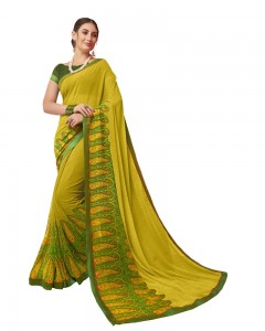Comet Busters Beautiful Printed Green Saree