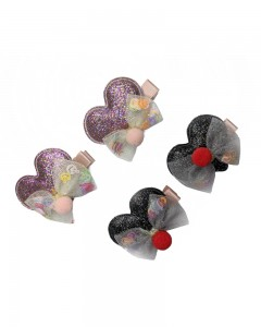 Comet Busters Cute Heart Shaped Glitter Hair Clips for Girls (Pack of 4 Pieces)