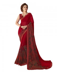 Comet Busters Beautiful Printed Red Saree