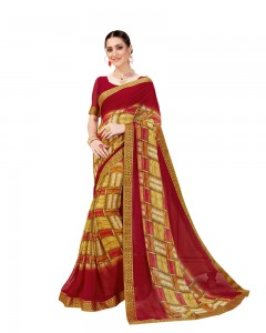 Comet Busters Maroon Georgette Saree with Printed Border