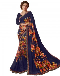 Comet Busters Beautiful Printed Blue Saree