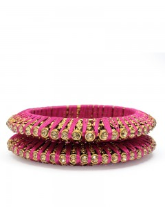 Comet Busters Beautiful Pink Golden Bangles For Women